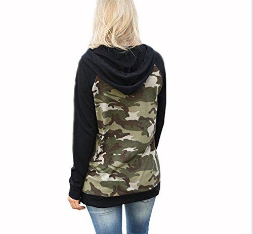 Taiduosheng Damen Sweatshirt Black,Camouflage Schwarz