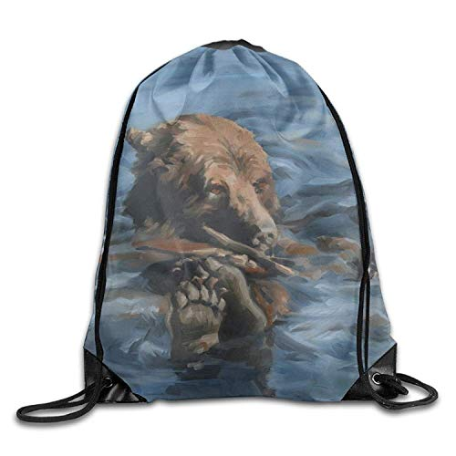 FTKLSS Lightweight Foldable Large Capacity Gym Drawstring Bags Water Bear Painting Draw Rope Shopping Travel Backpack Tote Student Camping