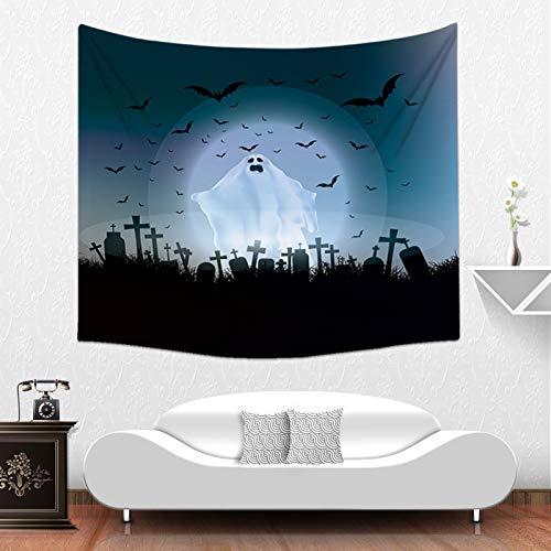 (Qishi Halloween Szenerie Reinigungstuch Tagesdecke Tischdecke Schals Digital Print Kürbis Hexe Ghost Innen Wand aufhängen Hintergrund Dekoratives Gemälde 150× 130cm, K)