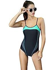 Mufly Bikini Mujer Bañador Deportivas Natación Sin Espalda Traje de Baño de una Pieza Mezclado Colores Elástico