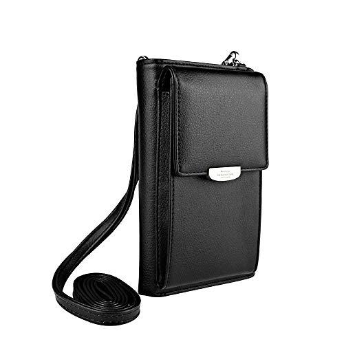 UEEBAI Frauen Brieftasche Mädchen Umhängetasche Kartenhalter Schöne Mini-Handtasche für Mobiltelefon Kreditkarten Reißverschluss Weiches PU-Leder Exquisite Nähte Abnehmbarer Schultergurt - Schwarz