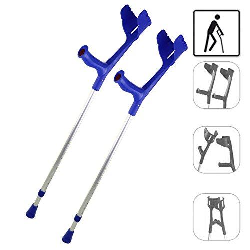 REBOTEC SOFT-GRIP made in Germany Paar Gehhilfen Unterarm-Gehstützen Krücken (Farbe: blau)