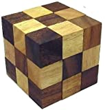 #8: Craftsman Christmas / X-Mas Gift Crafts'Man Snake Cube Jigsaw Wooden Puzzle, Brain Teaser, Gift Boxed ...