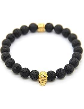 GOOD.designs Skull Perlen-Armband aus blauen Jaspis / schwarzen Lava-Natursteinen, Totenkopf-Armband Anhänger...