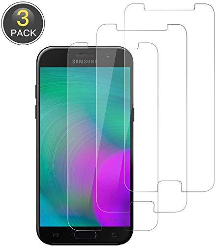 NUOCHENG Panzerglas Schutzfolie für Samsung Galaxy A5 2017, [3 Stück] Gehärtetes Glas Folie mit [9H Härte] [Anti-Kratzen] [Blasenfrei] [2.5D Rand] [HD Klar] Displayschutzfolie für Samsung A5 2017