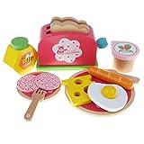 Homyl Holz Frühstücksset Spielzeug Set inkl. Toasterspielzeug + Becher + Besteck Set + Lebensmittel