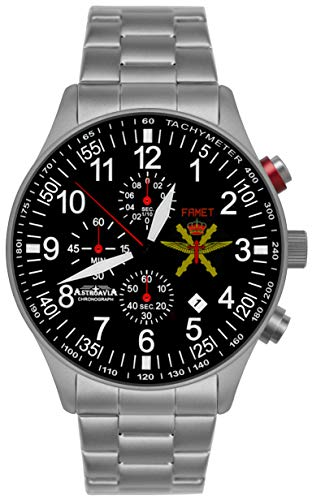 Astroavia Armbanduhr Chronograph Quarz Edelstahl Armband massiv, militär FN57