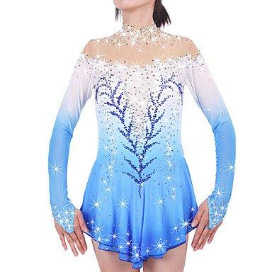 Heart&M Rollschuhkleid Eiskunstlauf Kleid für Mädchen Frauen Eislaufen Wettbewerb Leistung SAMT Strass Hoch elastisch Lange Ärmel Klassische Blau, 8