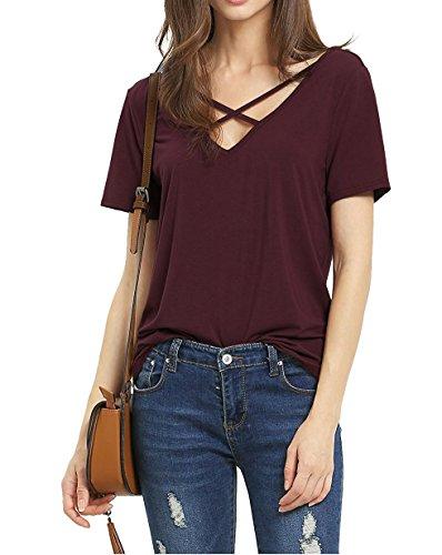 Suimiki Damen Sommer Kurzarm T-Shirt V-Ausschnitt mit Schnürung Vorne Oberteil Tops Bluse Shirt-WRS