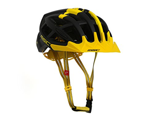 MSC Bikes HX100SMBKYE Casco de MTB, Negro y Amarillo, S/M (55cm-58cm)