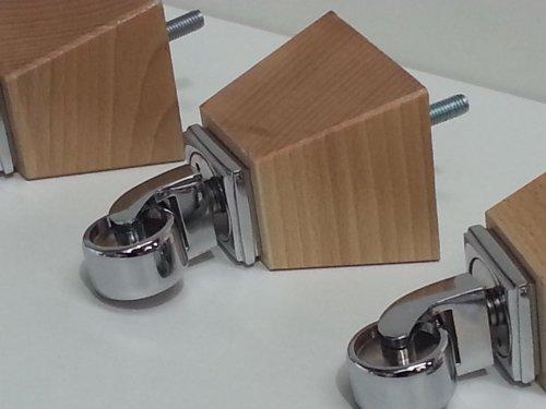 4x Natürliche Holz Möbel Beine/Füße Chrom mit Rollen, Sofa Stühle, Sofas, Hockern M10(10)