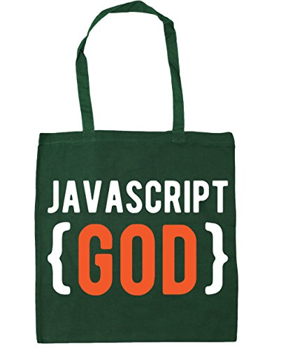 hippowarehouse Javascript Gott Tote Shopping Gym Beach Bag 42 cm 38 38, 10 Liter, flaschengrün, One Size (Green Beach Bag)