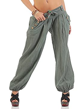Moda Italy Pantalones harén pantalones bombachos harén con colores sólidos cinturón Aladdin Yoga verano una talla