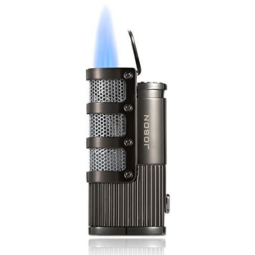KATELUO Sturmfeuerzeug, 3 Jet Flammen Feuerzeug, Zigarren Feuerzeuge, Sturmfeuerzeug Gas Nachfüllbar, Pfeifenfeuerzeug mit Geschenkbox (Ohne Gas) (grau)
