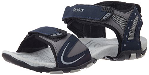 Matrix Men's Navy and Grey Sandals and Floaters - 8...