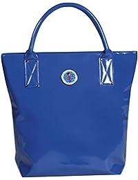 Clairefontaine Nina 83274C Sac à main vernis bleue 28 x 12 x 35 cm en polyester induction Brillante doublure coton mélangé/tirette fantaisie