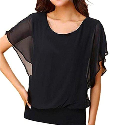 VEMOW Sommer Elegante Damen Frauen Lose Beiläufige Partei Lose Workout Kurzarm Flügelhülse Chiffon Top T-Shirt Bluse Pullover Tees(Schwarz, EU-42/CN-XL) (Tee Logo Zeichen)