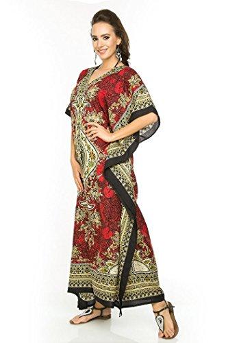 NUOVO da donna, oversize maxi Kimono Kaftan Tunica Abito Caftano Taglia unica Rosso (Red-17007)
