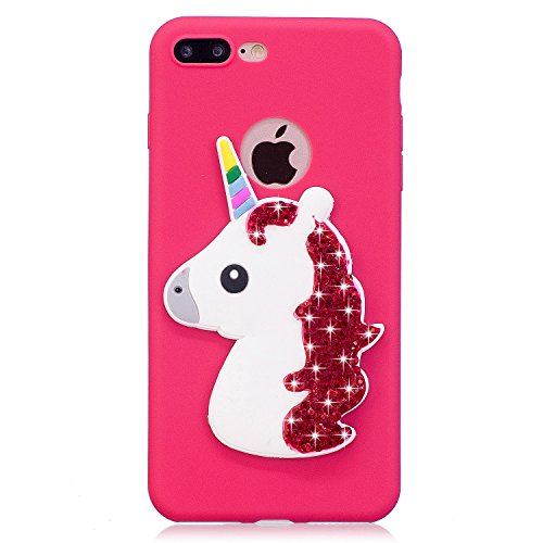 Coque iPhone 7 Plus , Coque iPhone 8 Plus Etui Housse Bling Glitter Strass Licone Motif Case Cover en Silicone Gel TPU Flexible Souple Housse de Protection pour Apple iPhone 7 Plus / iPhone 8 Plus (5. Rouge