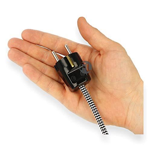 Schukostecker gerade schwarz, Winkelstecker, Schutzkontaktstecker, Stecker für Kabel bis 2,5 mm2, Netzstecker, Kabelstecker, Schuko-Stecker mit Zugentlastung IP44 16A 250V, mit doppeltem Schutzkontakt -