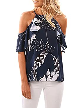 ACHICGIRL Mujer Blusa Estampado Floral Fuera de Hombro Cuello Halter