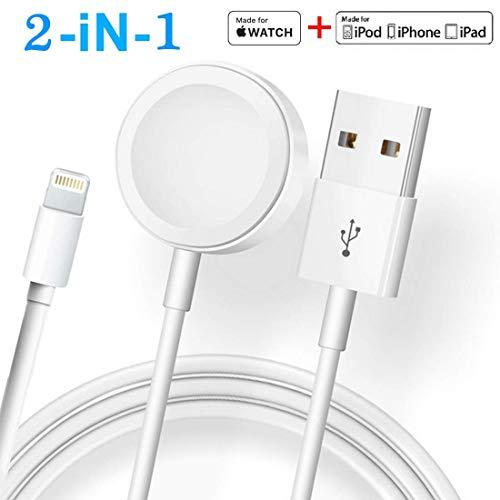ATETION Compatible con el Cargador iWatch de Apple Watch, Cable Cargador inalámbrico 2 en 1 Compatible con para Apple Watch Series 4/3/2/1 y iPhone XR/X MAX/XS /8/8 Plus / 7/7 Plus / 6 / 6Plus