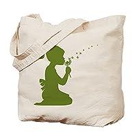 CafePress - Girl Blowing Dandelion Tote Bag in Green - Natural Canvas Tote Bag, Cloth Shopping Bag