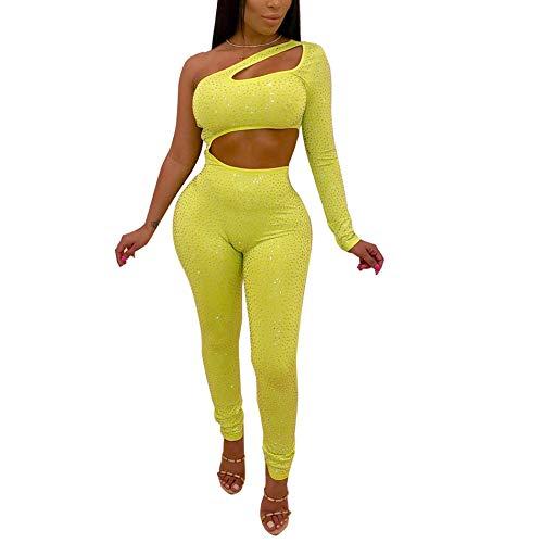 IyMoo Damen Sexy 2-teiliges Outfits, schulterfrei, Lange Ärmel, Crop Tops und Lange figurbetonte Hose, Jumpsuits Clubwear - gelb - X-Groß