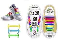 SCHNÜRRLIE elastische Silikon Schnürsenkel ohne Binden für Kinder & Erwachsene, 16 Stück in 8 Größen, Farbe Bunt