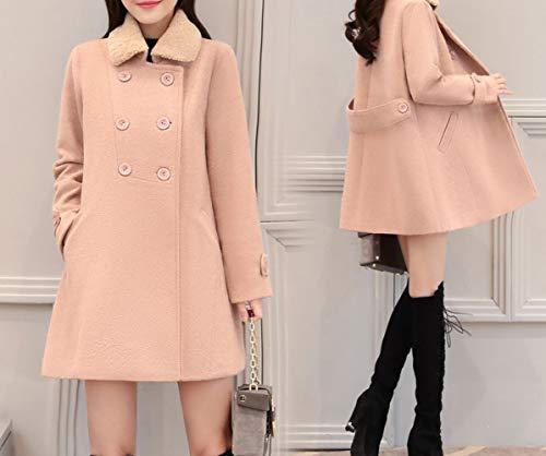 Xqy cappotto, cappotto di lana, cappotto di lana, abbigliamento invernale femminile, coreano slim, lungo a maniche lunghe in lana a doppio petto,rosa polveroso,xl