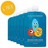 Baby Food Pouches, Reusable Weaning Fill Pouch Bags: Feeding; Freezer Storage by Hello Little Monsters (4oz / 118ml)