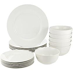 AmazonBasics Service de table en porcelaine pour 6 personnes 18 pièces