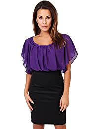KRISP Damen Kleid Chiffon Stretch Minikleid
