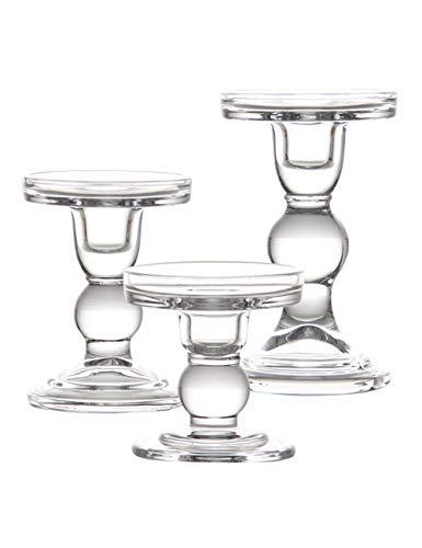 SPDYCESS 3er Set Einzigartig klar Kerzenhalter aus Glas - Runde Basis Dauerhaft Kerzenhalter Kreative Verzierung für Heimtextilien