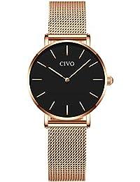 CIVO Relojes para Mujer Señoras Impermeable Simple Oro Rosa Relojes de  Pulsera Chicas Adolescentes Fresco Moda Casual Espacio… 0d9d2f778c91