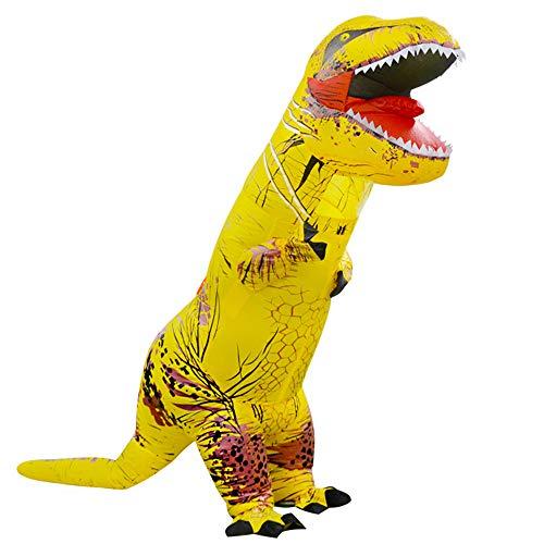 MIMI KING Dinosaurier Aufblasbare Kostüm Halloween Cosplay, Tyrannosaurus T-Rex Cosplay Für Erwachsene,Yellow