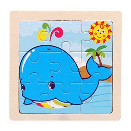FBGood Klein Tier 9 Blöcke Holzpuzzle Spielzeug, DIY Puzzles Pädagogisches Entwicklungs Spielzeug Lernspielzeug Puzzle Jigsaw Tolles Geschenk für Kinder Mädchen und Jungen