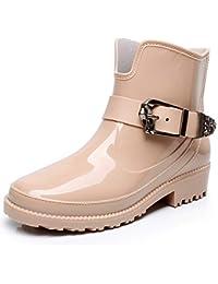 SUADEEX Mujer Botas de Lluvia Goma Bota de Agua Impermeable Zapatos Calzado Al Aire Libre Casual Tobillo Chelsea Botas