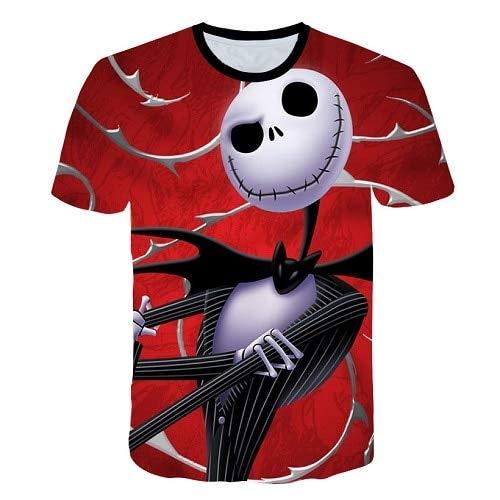 uen Mode T-Shirts 3D Muster Halloween T-Shirts Kürbis Schädel Vogelscheuche Gedruckt T-Shirts Lässige Harajuku Hemd ()