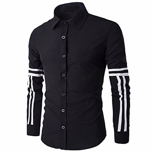 QIYUN.Z Männer Lange Ärmel Knopf Unten Slim Fit Lässig Ebene Shirt-Kleid Hemd Schwarz-72