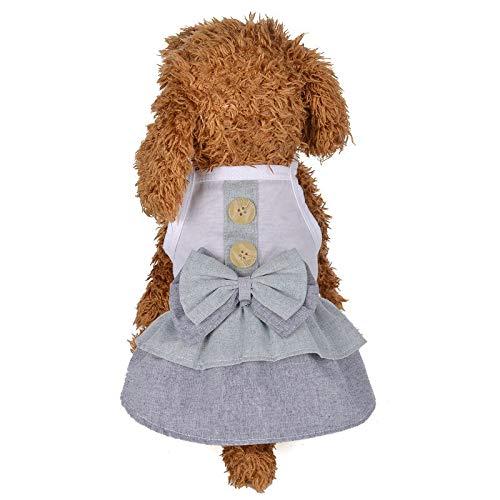 W.Z.H.H.H Haustier Kostüm Haustier-Kleidung-Welpen-Baumwollrock for Frühlings-Sommer-britischen Art-Knopf-Rock-Hund kleidet Kätzchen-Kleidung Haustier-Kleidung (Color : Purple, Size : 12) (Bombe Anzug Kostüm)