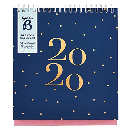 Calendario Da Scrivania 2020.Calendario Da Scrivania 2020 Busy B Blu Marino Con Tasche E Supporto Integrato