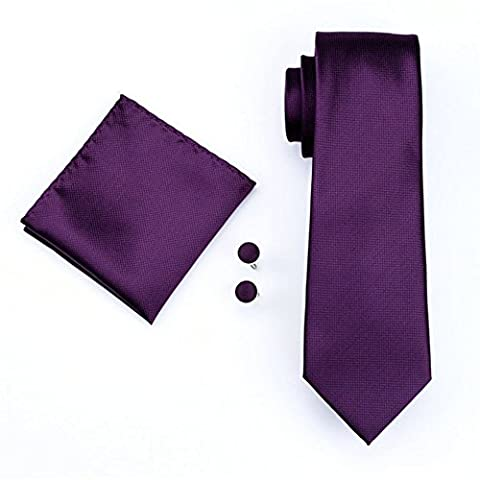 Mens Formal Paisley Striped Floral 100% Silk Woven Neck Tie, Pocket Square Hanky Cufflink Set (Wine)
