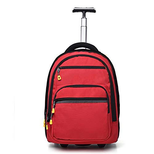 WSYG Multifunktions-Trolley-Rucksack, Polyester-wasserdichter Schüler-Schultasche-Rucksack mit Rädern, passend für 17,3-Zoll-Laptop-College-Rolltrolley-Tagesrucksack