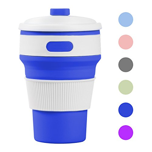 Collapsible Coffee Cup Office Silicone Folding Mug Cup Reusable Portable Folded Watter Tea Mug Bottle with Lip for Outdoor Travel Picnic Camping Hiking Use 41U YifBn3L