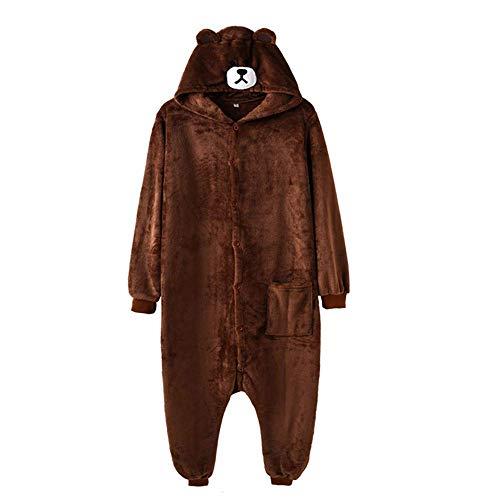 FuweiEncore Braunbär Frauen Männer Erwachsene Tiere Kostüm Cartoon Pyjamas Lustige Festival Abend Phantasie Kostüm (Farbe : Braun, Größe : S) (Braunbär-kostüm Erwachsene Für)