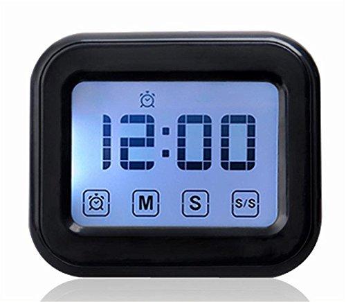 touchez l'écran avec la lunette arrière, minuteur minuteur électronique de rappel, étudiant, chronomètre, réveil,black