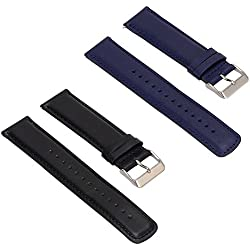 Set of 2 Replacement Leather Bands for LG LGW110 G Watch R Smartwatch (Black+Blue)