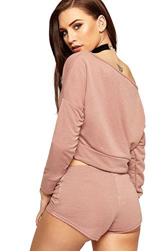 WEARALL Femmes Bouffant Récolte Haut Short Fixé Dames Chaud Pantalon De Épaule Co-Ord Double Costume - 36-42 Rose