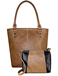 Fargo Fine Line PU Leather Women's & Girl's Shoulder Handbag & Sling Bag Combo Of 2 (Beige,Black_FGO-064)